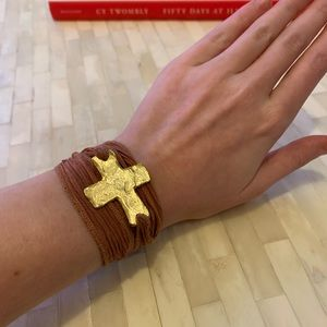 Gold Cross and Pink Silk Wrap Bracelet